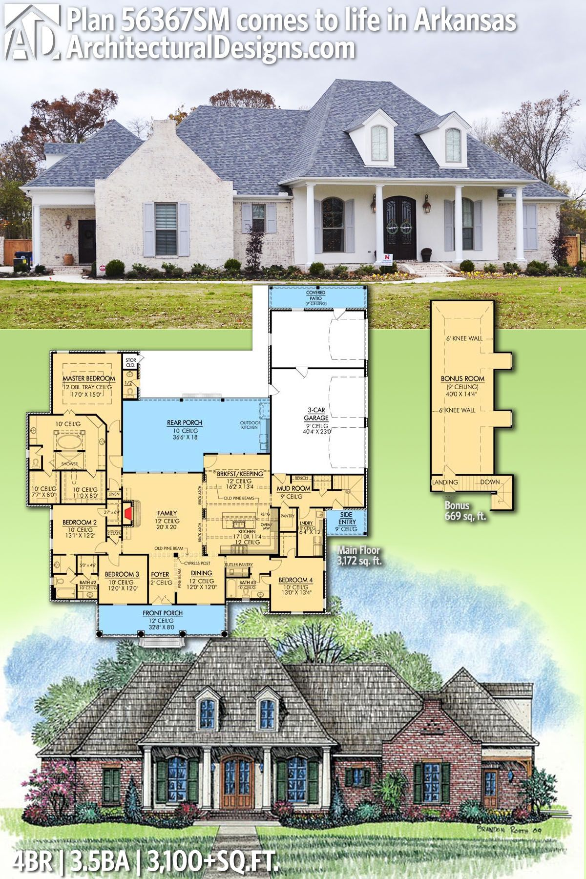 Plan 56367sm Roomy French Country Home Plan Acadian House Plans
