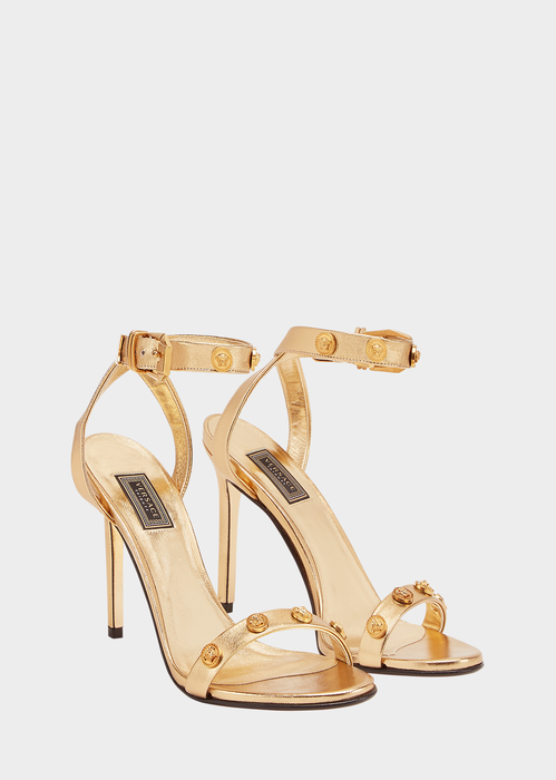 a74212a0dd50 Versace - Gold Medusa stud strap sandals ( 1