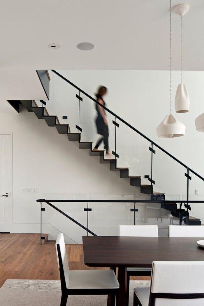 wohnideen wohnzimmer essbereich innentrepen geländer glas ...