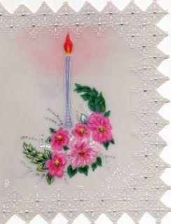 #Postal de #navidad hecha por mi tía abuela, con #papel #vegetal