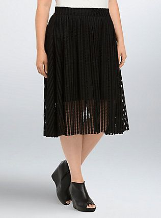 cb67909bc9a Plus Size Mesh Stripe A-Line Midi Skirt