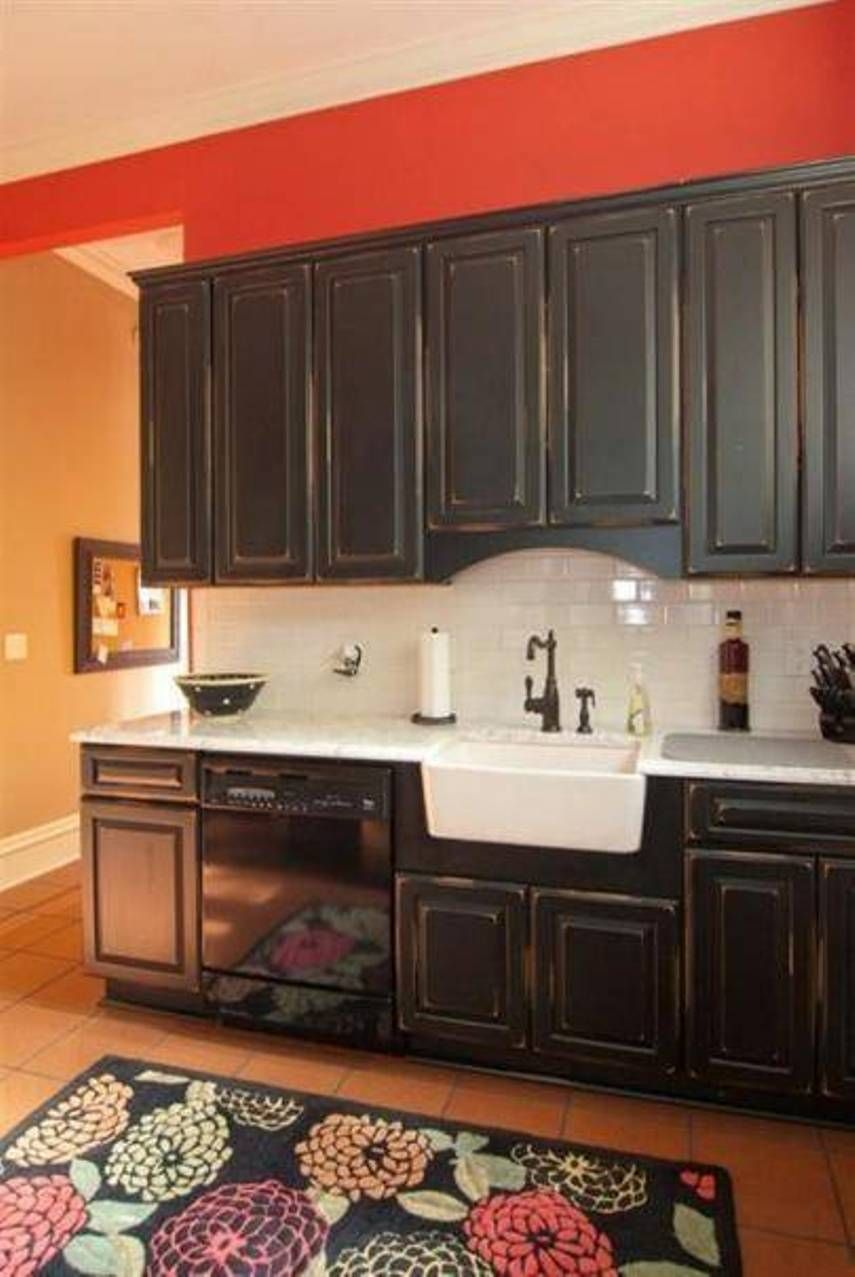Distressed Black Kitchen Cabinets With Farmhouse Sink And Antique Style Faucet Suave Distress Distressed Kitchen Cabinets Distressed Kitchen Kitchen Cabinets