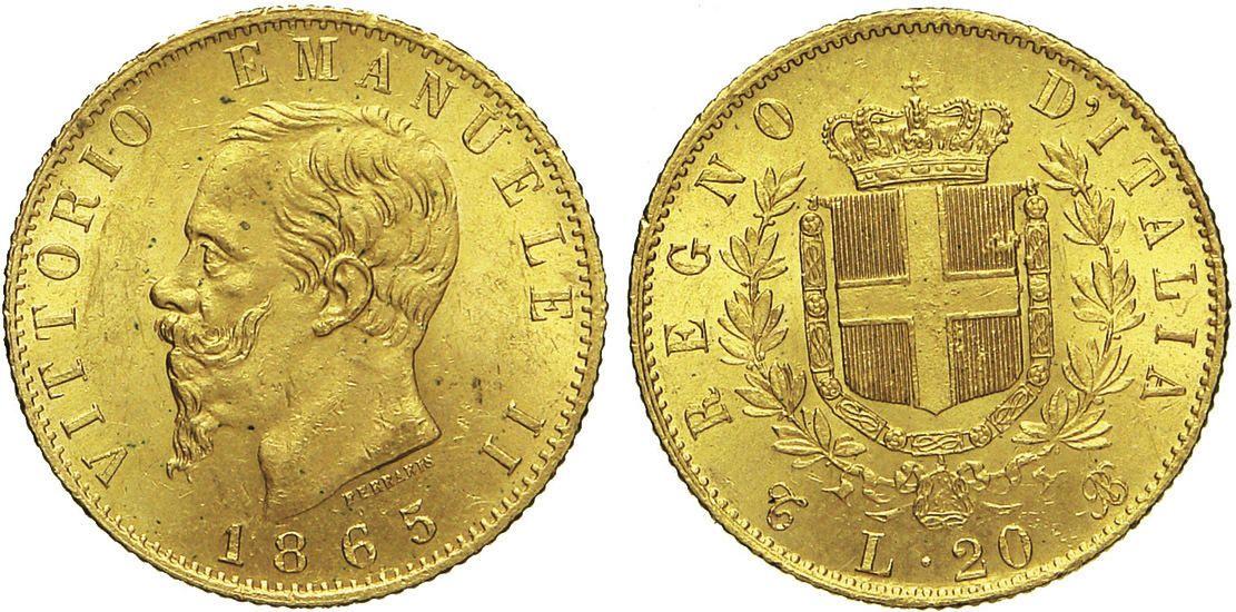 NumisBids: Numismatica Varesi s.a.s. Auction 65, Lot 644 : SAVOIA - VITTORIO EMANUELE II (1861-1878) 20 Lire 1865 Torino. ...