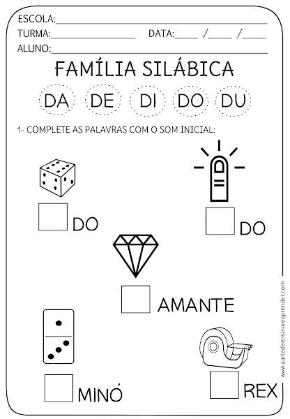 A Arte De Ensinar E Aprender Atividades De Alfabetizacao Atividades Alfabetizacao E Letramento Atividades De Silabas