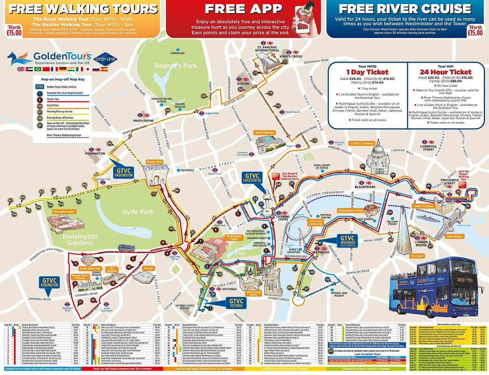 Hoho Map With Key 2018 Jpg 1 701 1 304 Pixels Londres Viajes