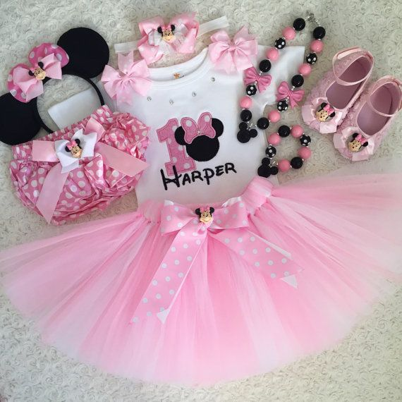 3-pcs set Minnie mouse Inspired Birthday outfit -includes Light pink ...