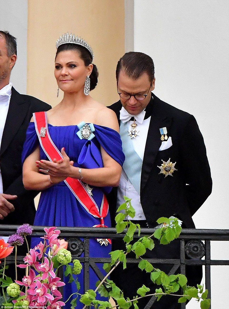 9 May 2017 - King Harald and Queen Sonja of Norway celebrate their 80th birthday in Oslo - dress by Elia Saab, clutch by Yves Saint Laurent