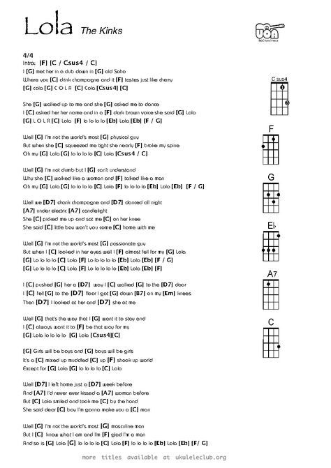 Lola Ukulele Chords Google Search Guitar Song With Chords