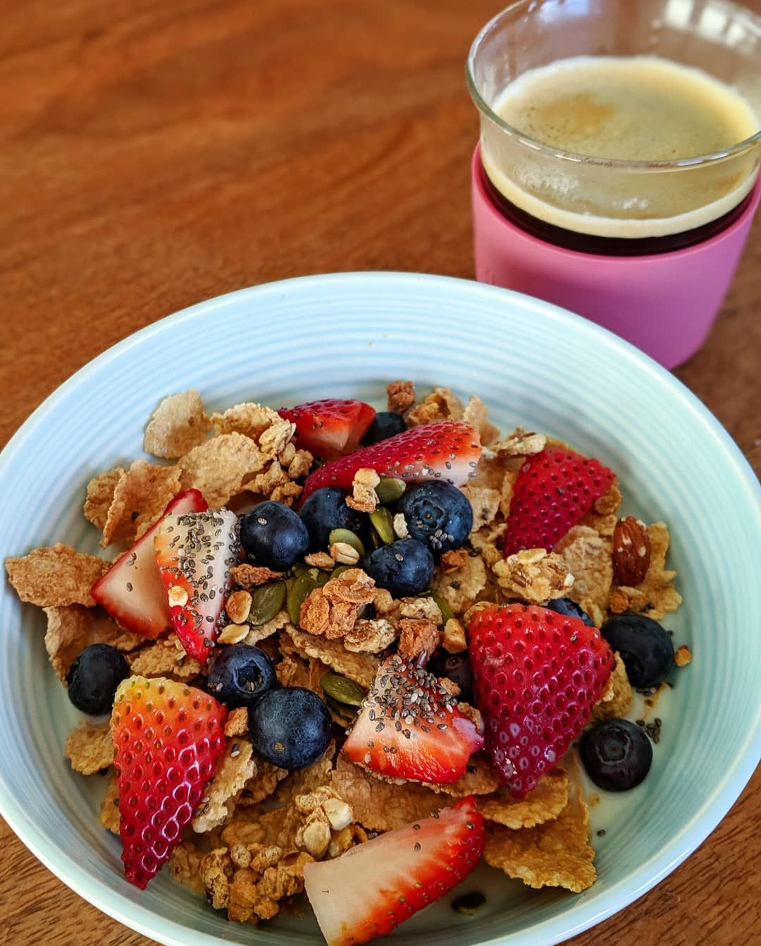 Brekkie bowl  Approximately twice the suggested serving amount of Special K with oat clusters, berri...