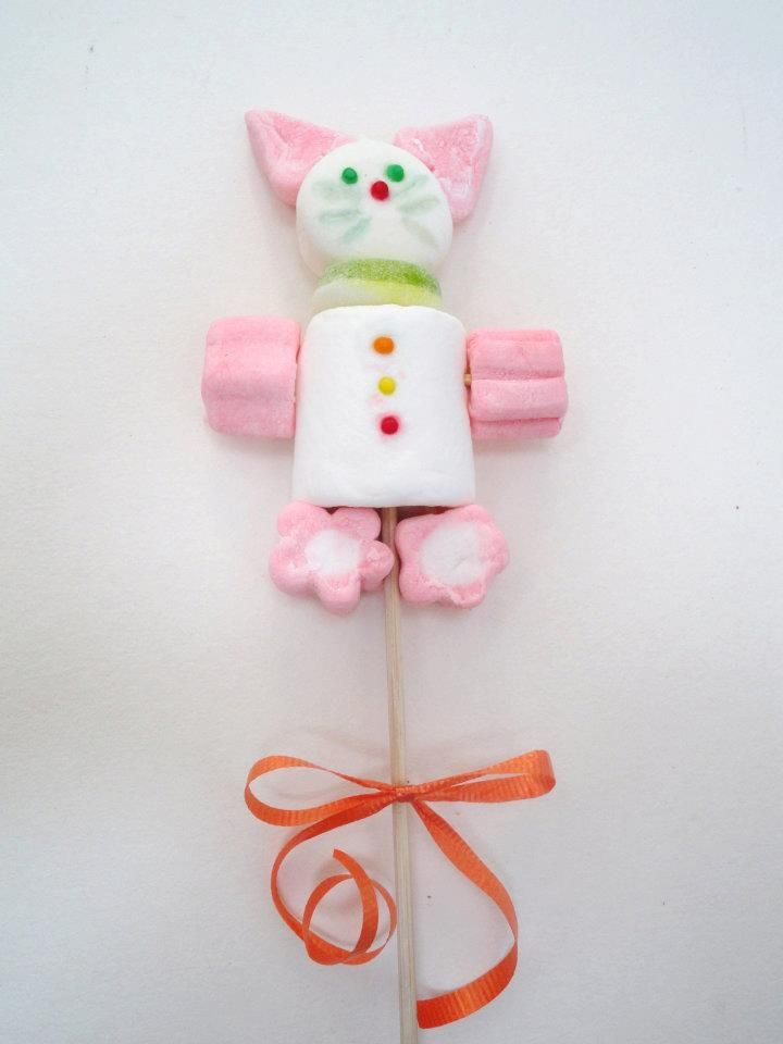 Figura en masmelos Conejito figuras de marshmallows Pinterest