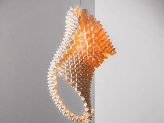 Gorgeous Origami Dragon Tail Lamps are Folded from Simple Sheets