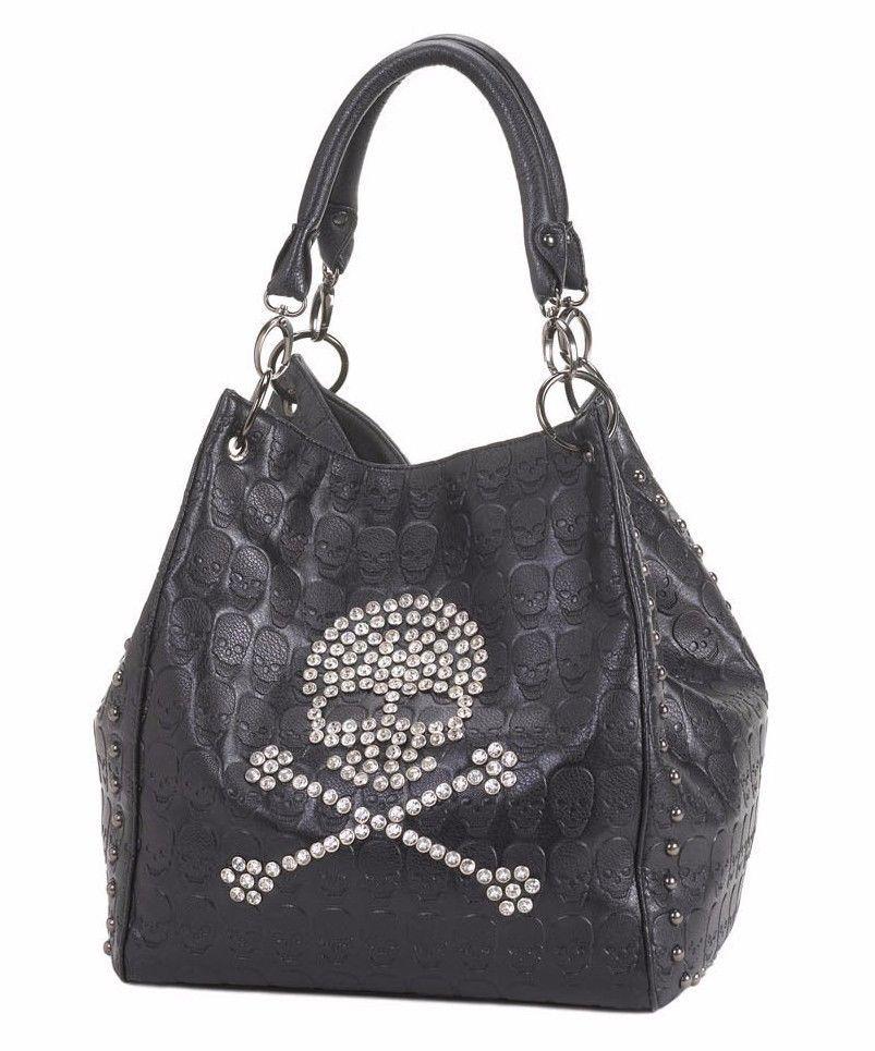 Designer Style Stud Detailed Black Skull Handbag Purse Tote NEW #designerstyle #Baguette