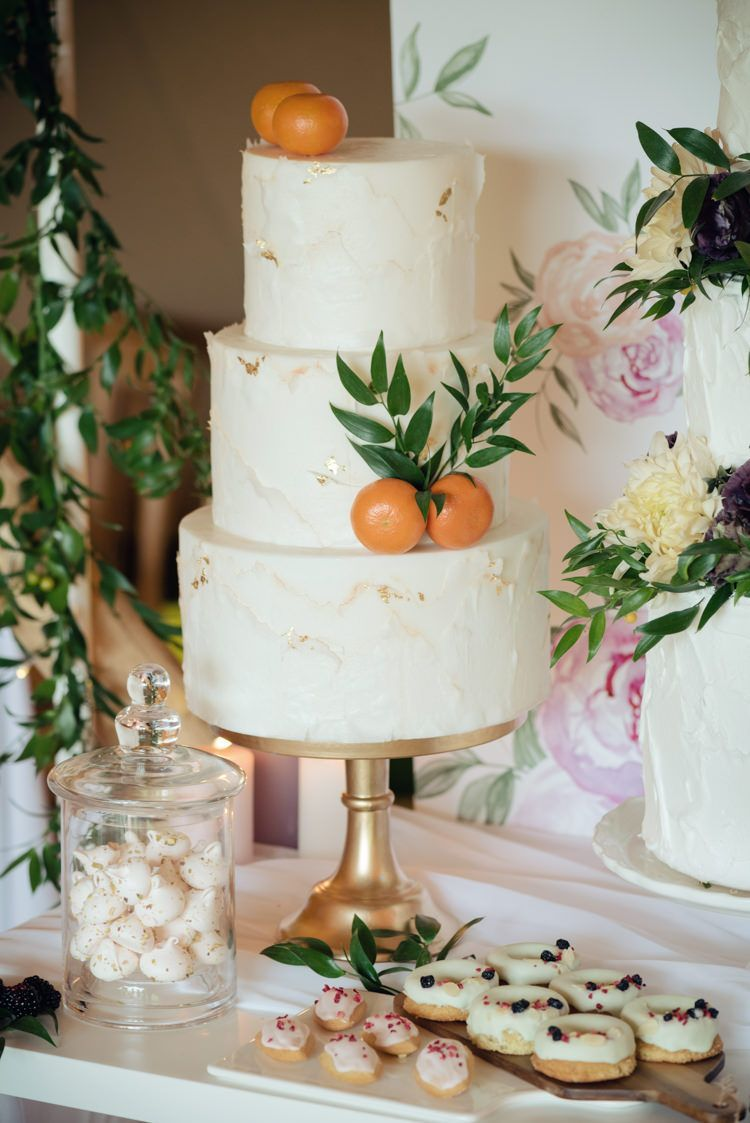 Buttercream Cake Gold Clementines Pretty Blush Floral Tipi Wedding ...