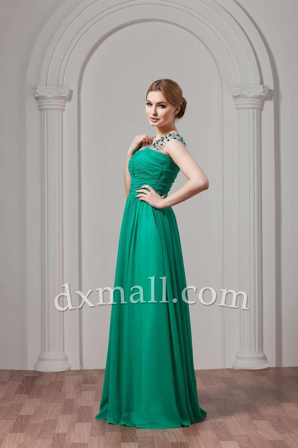 Green dress for wedding party  Drop Waist Wedding Guest Dresses Straps SweepBrush Train Chiffon