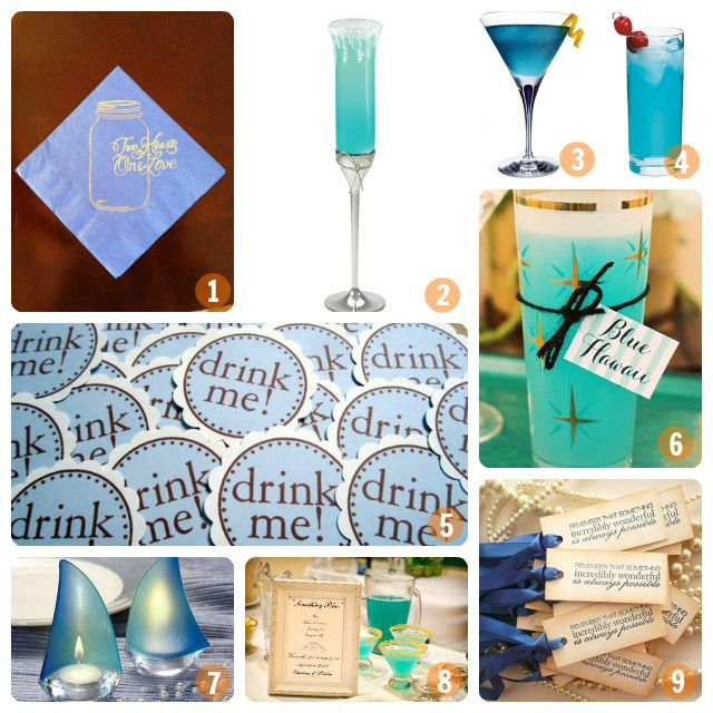 Wedding Specialty Drinks: Blue Cocktails