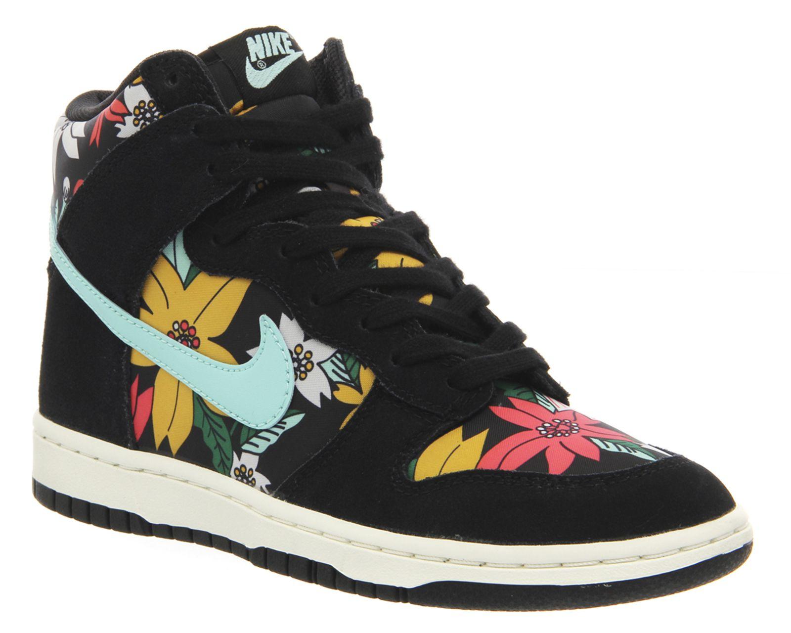 Nike Dunk Hi Skinny Black Teal Aloha Print - Hers trainers