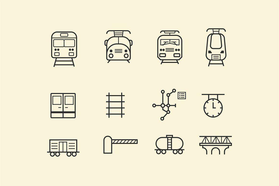 15 Train And Railway Icons Train Tattoo Train Vector Train Map
