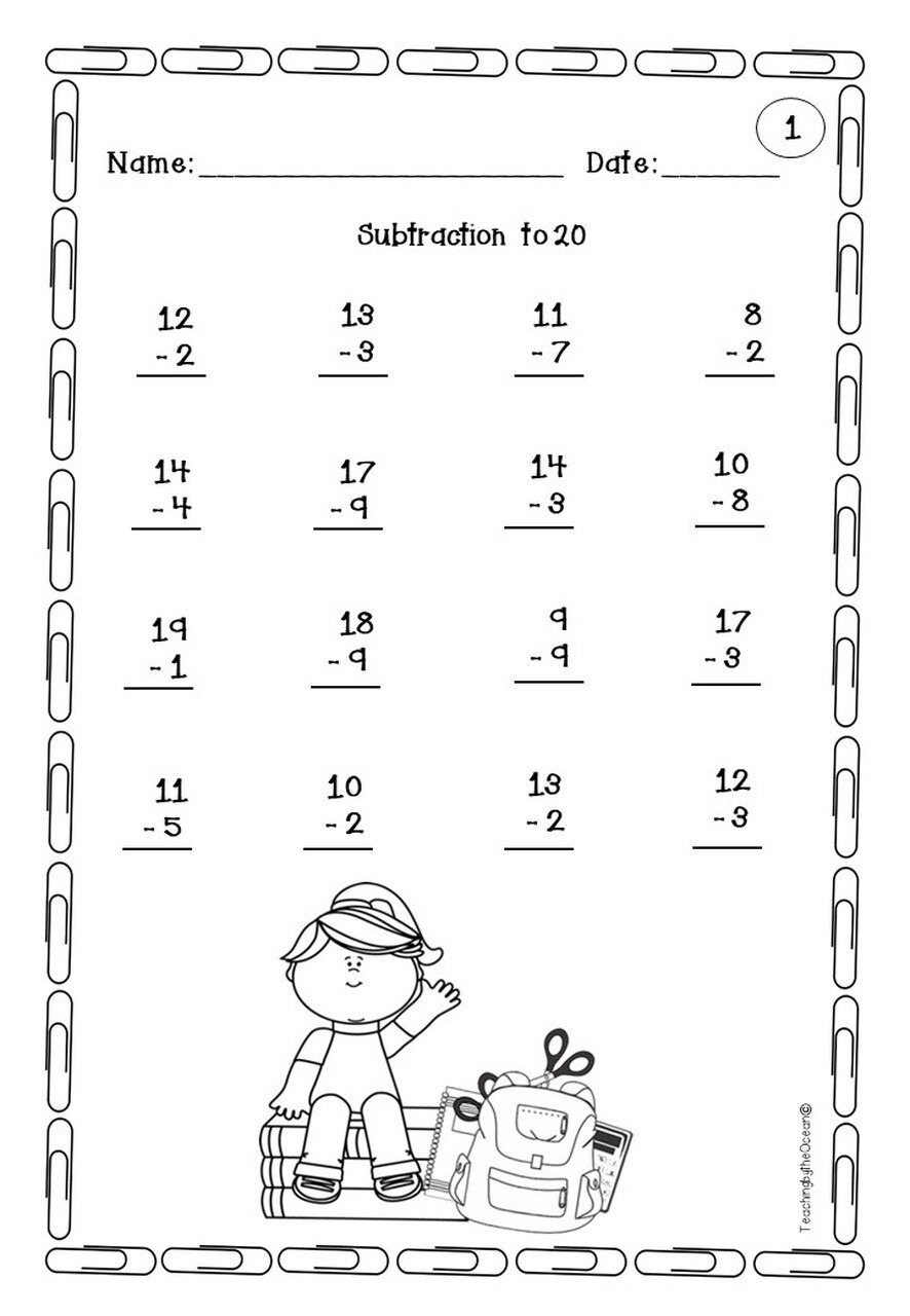 Addition And Subtraction To 20 Fact Fluency Freebie Addition And Subtraction Subtraction Fact Fluency Worksheets [ 1280 x 886 Pixel ]