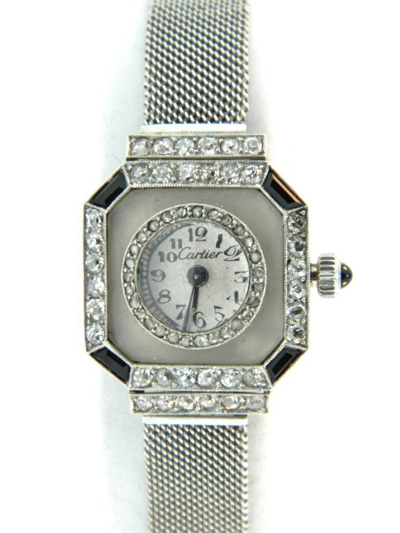 CARTIER, Art Deco Platinum, Diamond, Onyx and Rock Crystal Watch image 2