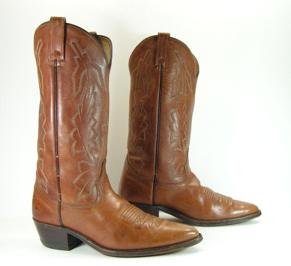 445c88f9f4ece Dan Post vintage cowboy boots mens 9 D brown vintage western leather ...