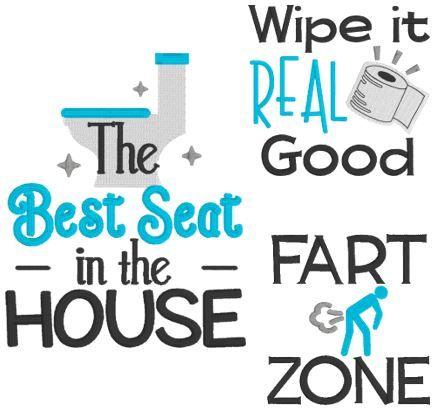 Humorous Bathroom Sayings Set 1 in 2020 | Towel embroidery ...