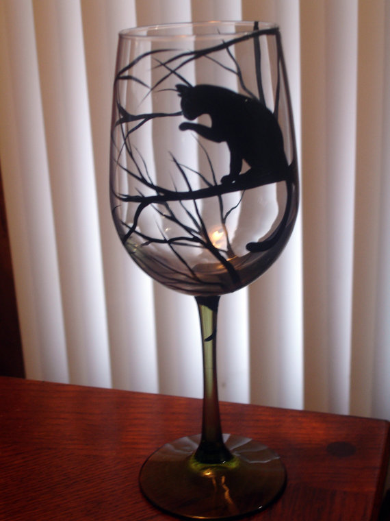 1 Hand Painted Cat Wine Glass Gifts Pinterest