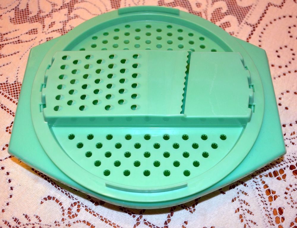 Vintage Green Tupperware Two Piece Cheese Grater Slicer Bowl Tupperware Vintage Green Cheese Grater