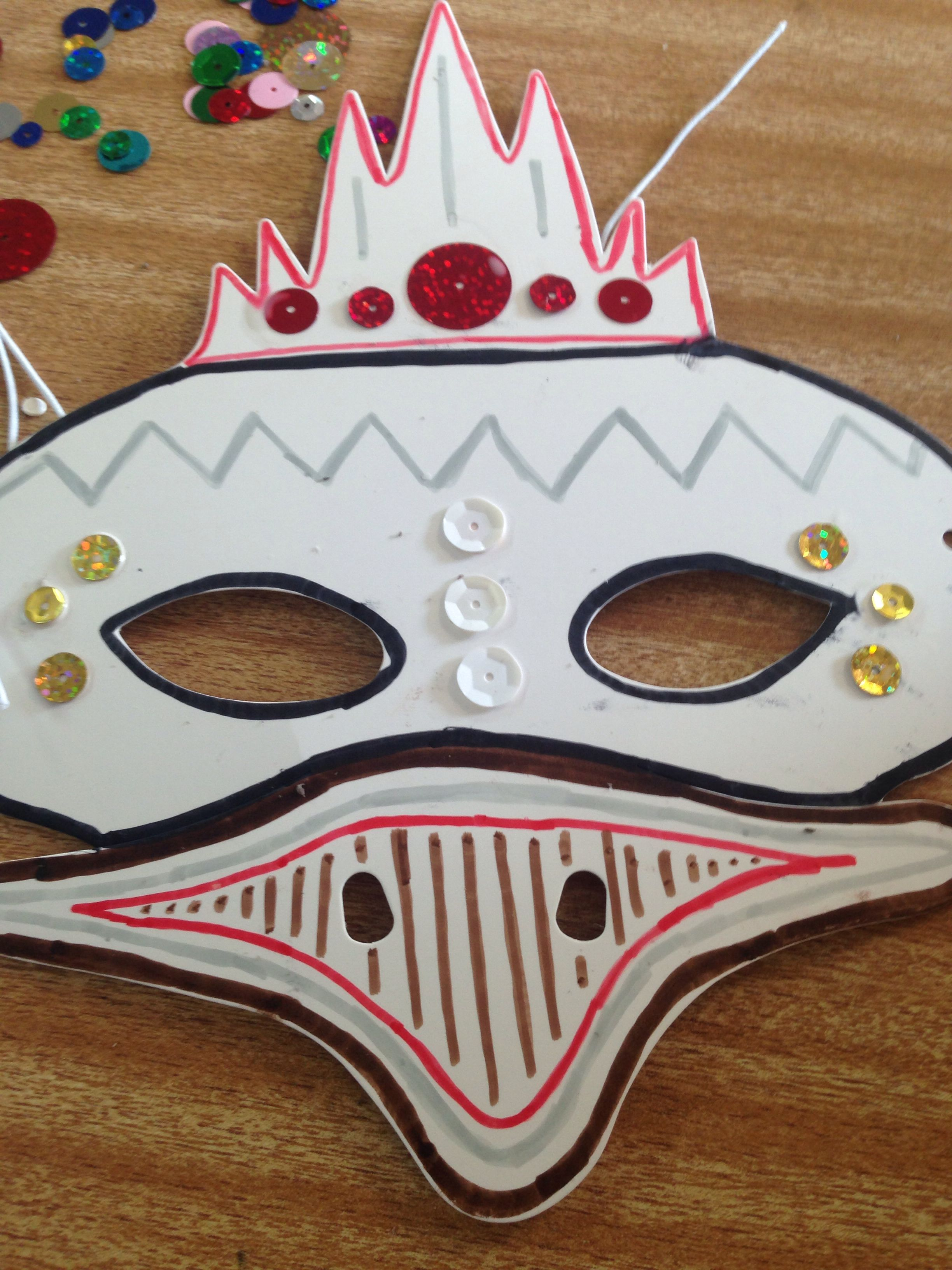 Australian animal face masks decorated with textas and sequins ...