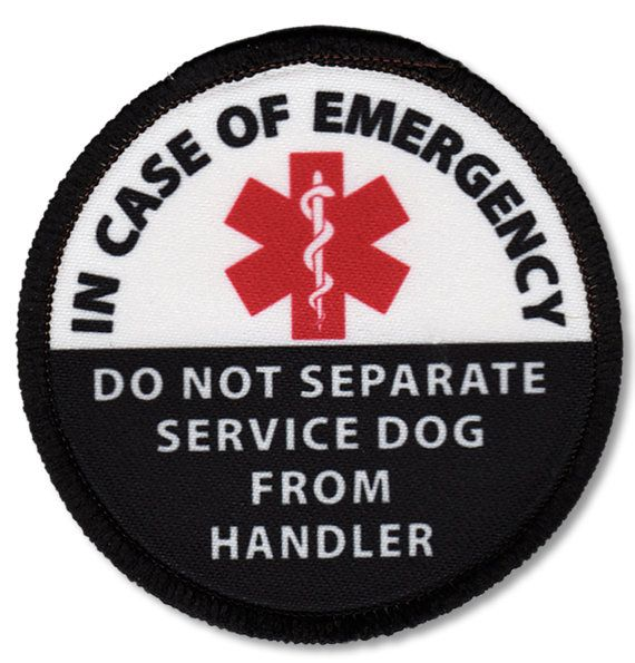 HOOK Velcro Service Dog In Case of Emergency Do Not Separate From Handler Alert Warning Round or Rectangle Patch Choose Size