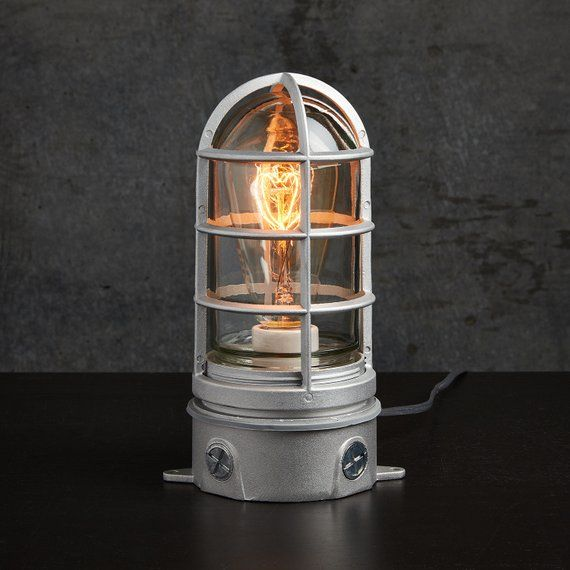 Industrial Table Lamp With Touch Dimmer Nautical Cage Light Etsy In 2020 Industrial Table Lamp Touch Lamp Lamp