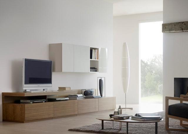 Mueble de Salón en madera con estantería en blanco