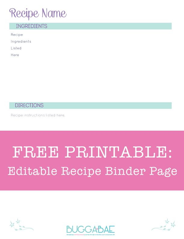 Free Editable Recipe Binder Page! 8 1\/2 x 11 minimalist design - free recipe card templates for microsoft word