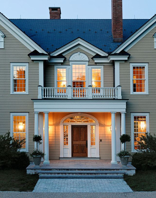 House Front Balcony Grill Design: Beautiful, Traditional Home Exterior With Siding Painted