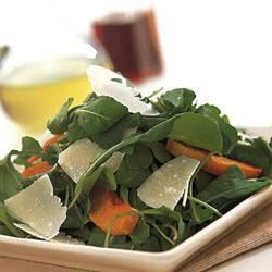 Rocket, Roast pumpkin and parmasen salad  Might try this for Christmas.