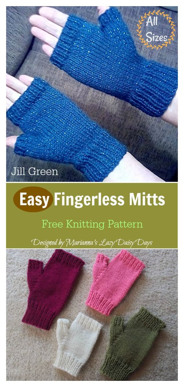 Easy Fingerless Mitts Free Knitting Pattern #knitting
