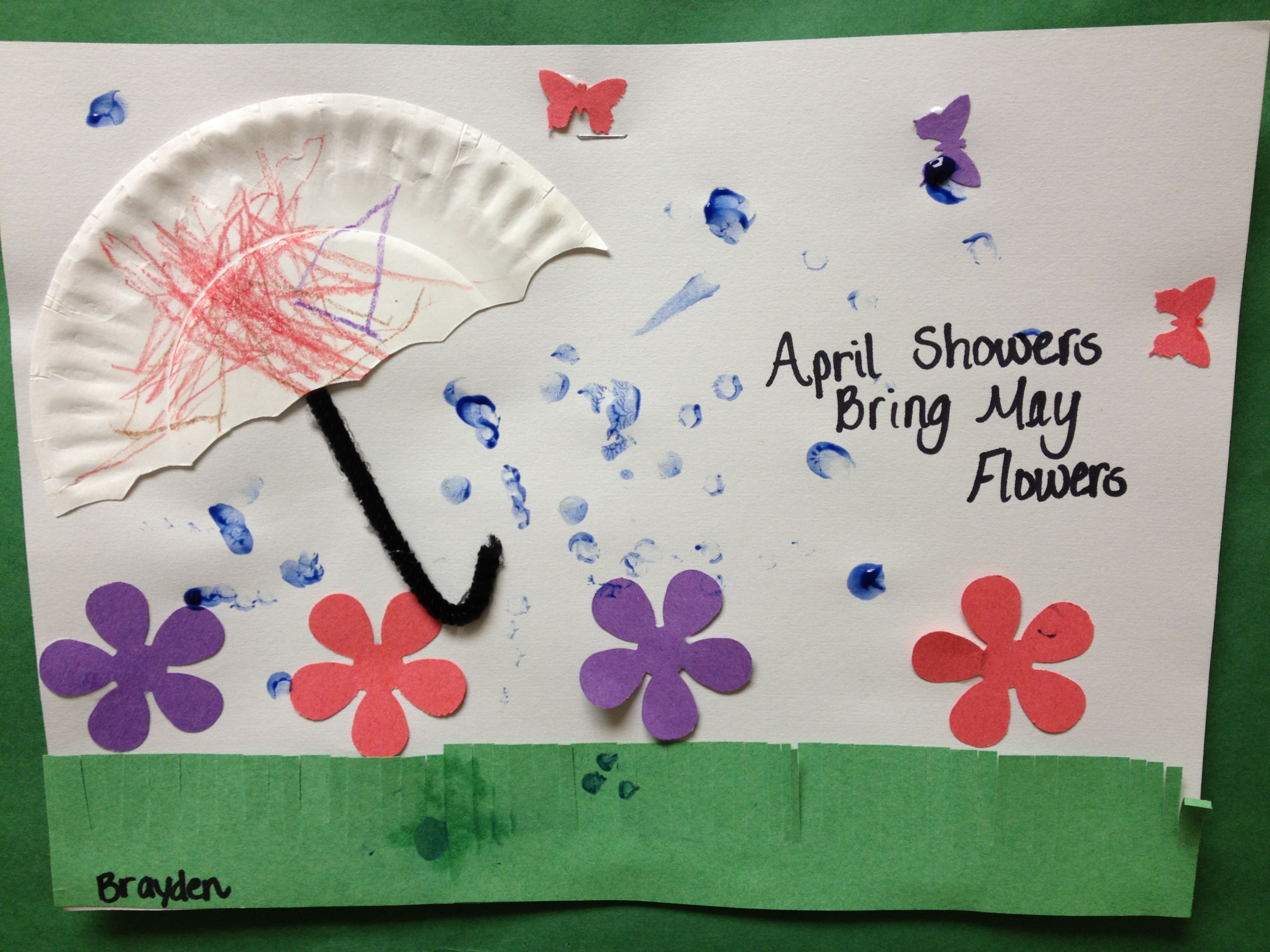 Preschool Spring Art April Showers Bring May Flower The raindrops are the c