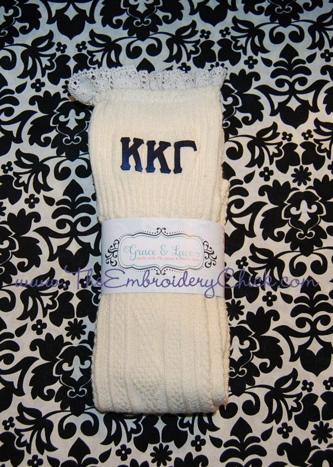 Sorority Grace and Lace boot socks from The Embroidery Chick!   The ...