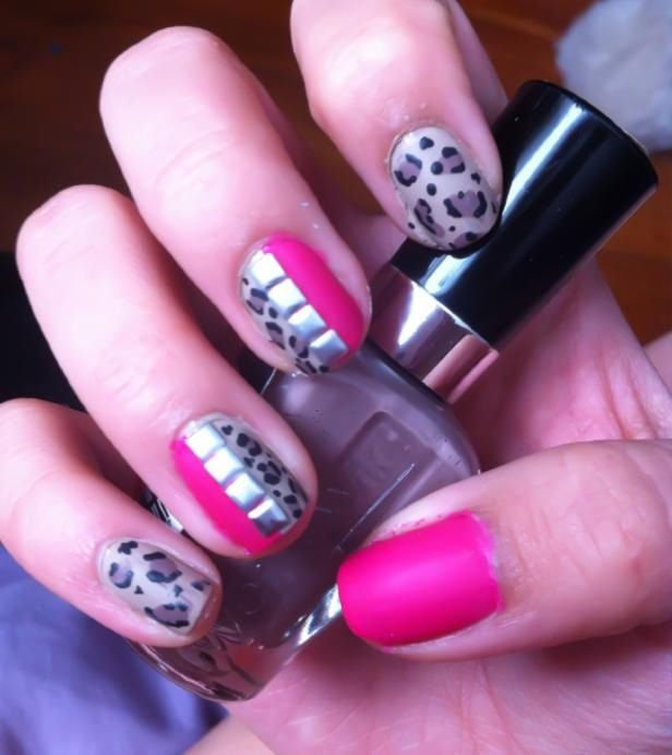 Pink and brown Leopard nails