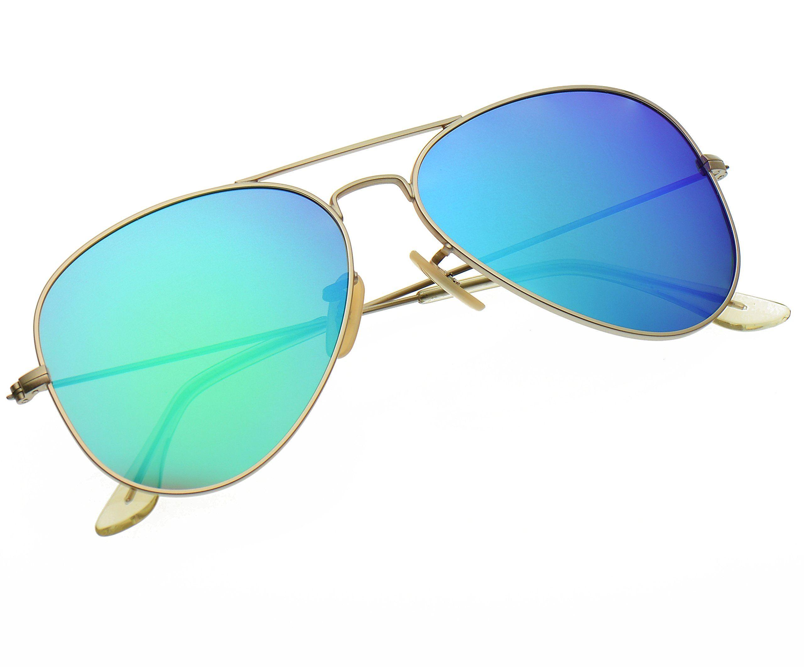 fcfc0d0882 LUENX Aviator Polarized Sunglasses for Men   Women with Elegant Glasses Case  - UV 400 Protection Green Blue Mirrored Lens Gold Frame 55mm
