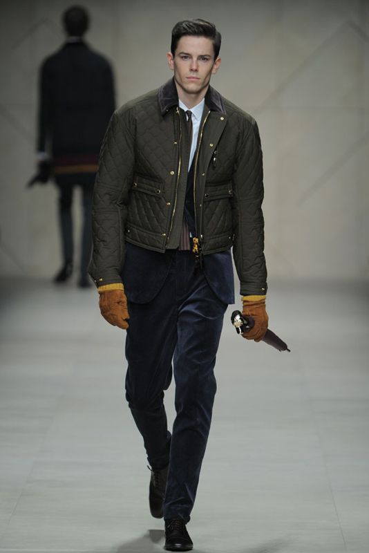 Burberry: Short bomber jackets and camo coats over suit jackets ...