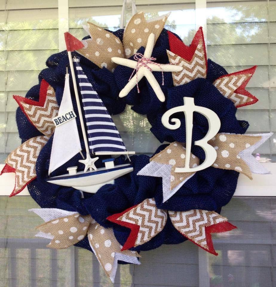 Photo of www.facebook.com/cutecraftsbyash Made by Ashley Hughes navy blue nautical wreath…