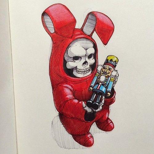 Skeleton in a Red Rabbit Costume http://skullappreciationsociety.com/skull-cartoon-fella/ via @Skull_Society