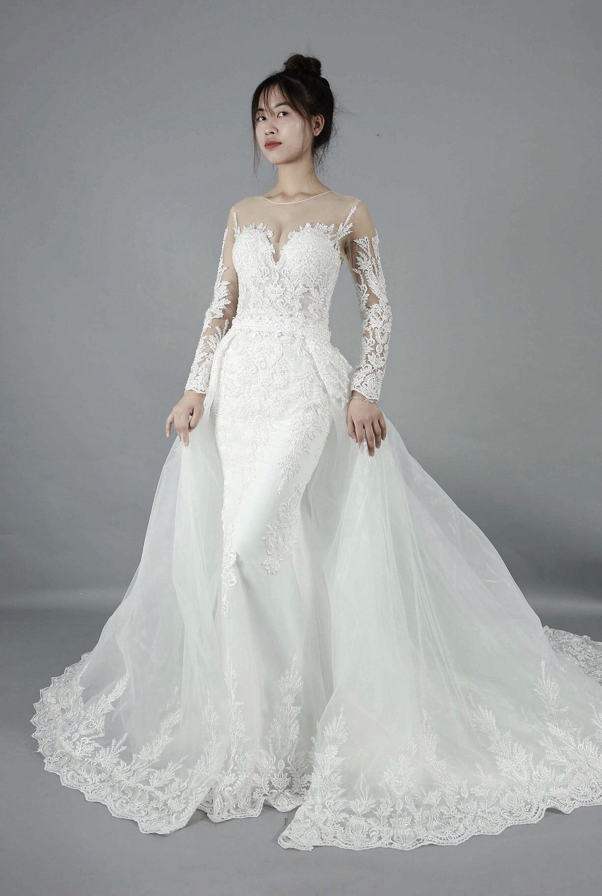 Wedding Dress Detachable Skirt/ Long Sleeves /Mermaid