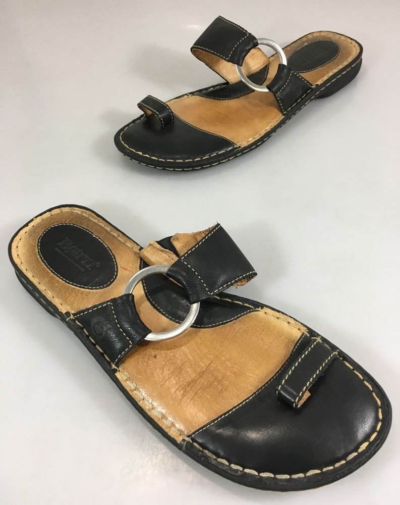 2b039d5a33c9c Born Womens 10   42 Captiva Black Leather Toe Loop O Ring Flat Sandals   Born  Slides  Casual