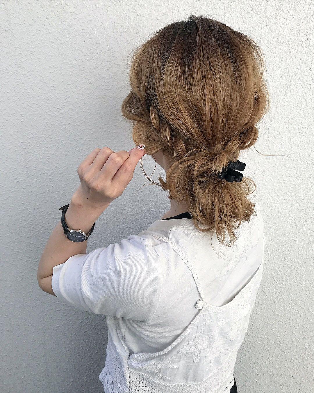 三つ編みだけですぐ完成 超簡単 まとめ髪 アレンジ 簡単 まとめ髪