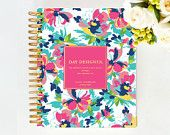 January 2015 DAY DESIGNER - Carrie Floral - Yearly Planner & Daily Agenda, Calendar, Organizer