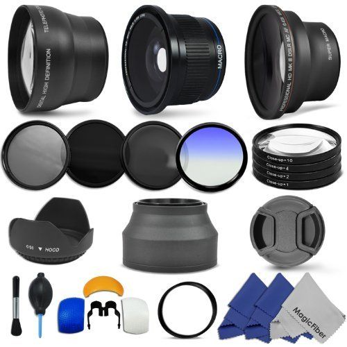 Accessory Kit For Canon Powershot Sx40 Hs Sx30 Sx20 Is Includes Lens Conversion Adapter Professional 40x Super W Flash Diffuser Fish Eye Lens Powershot