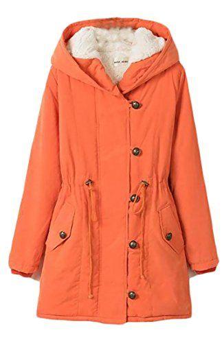 c4f0110c8789 Cromoncent Womens Winter Plus Size Wool-Lined Hooded Parkas Jackets Coat  Orange 3X-Large Best Winter Coats USA