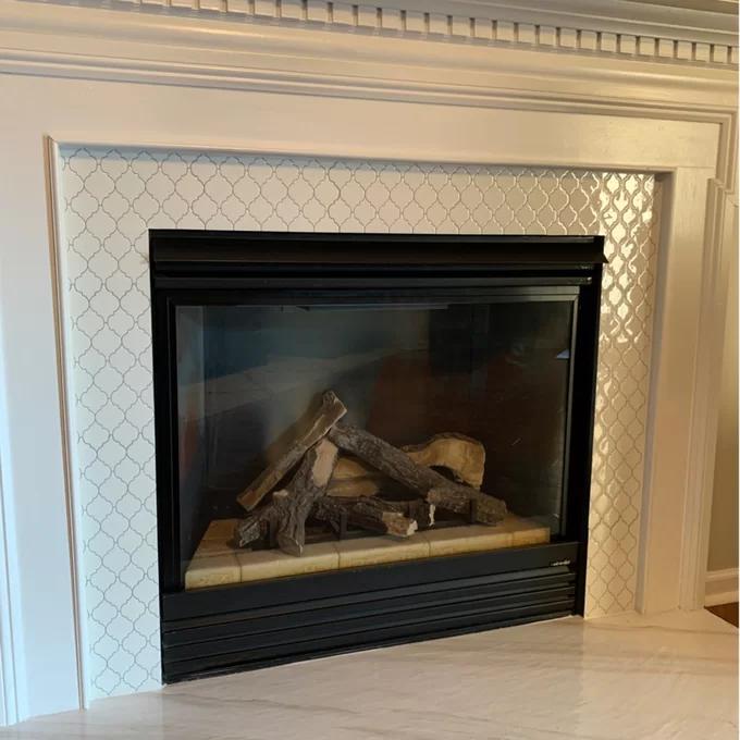 12 X 12 Gel Peel Stick Mosaic Tile Fireplace Tile Tile Around Fireplace Wallpaper Fireplace