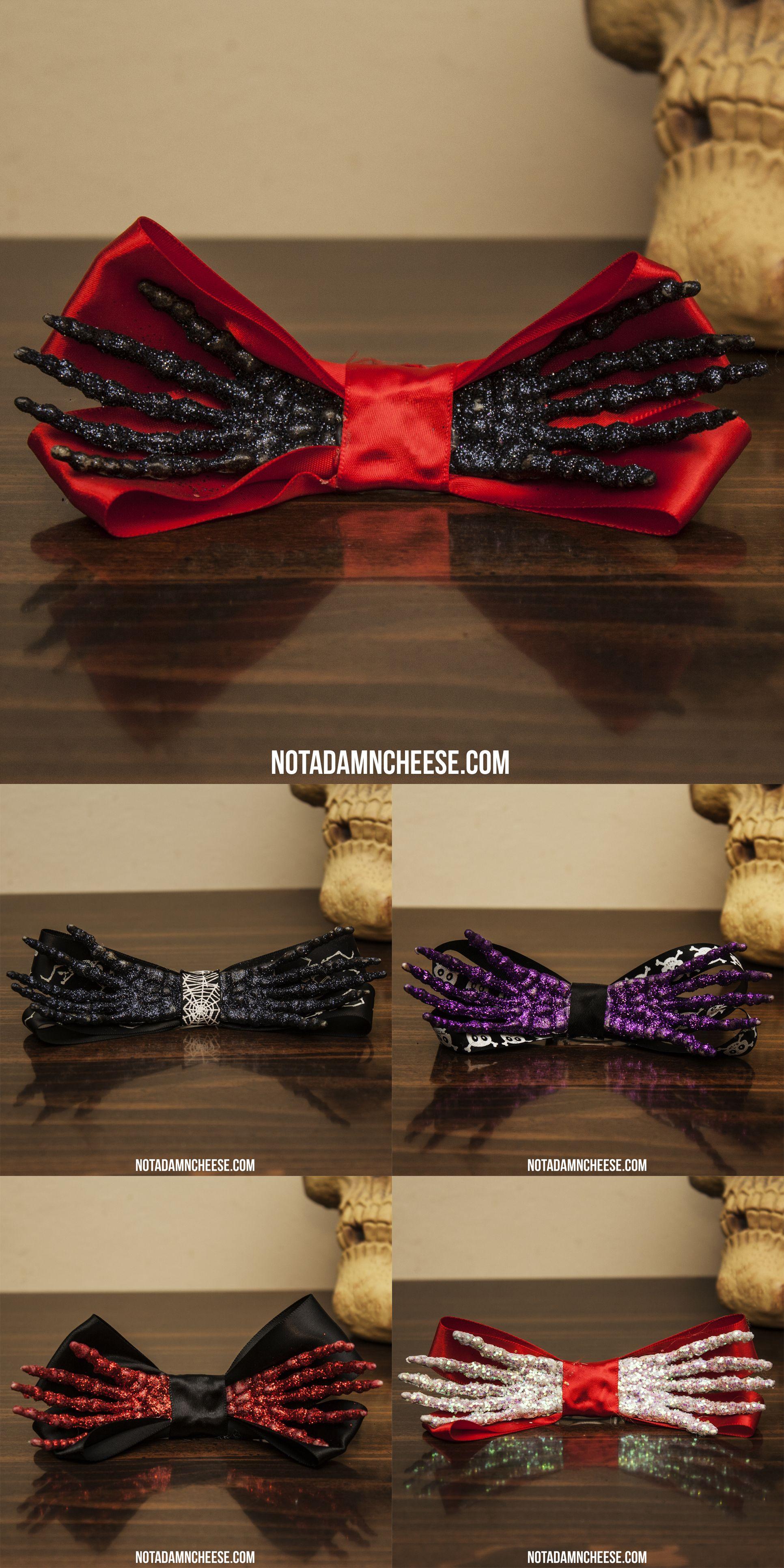 Handmade skeleton hand hair bows! Available for sale at NotADamnCheese.com !  #halloween #goth #craft #art #artsandcrafts #skeleton #hand #bones #creepy #spooky #cute #hair #bow #glitter #black